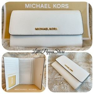 MICHAEL KORS TRIFOLD WALLET LEATHER OPTIC WHITE